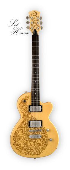 henna designed electric guitar Guitar Solo, Music Guitar, Cool Guitar, Tenor Ukulele, Banjo, Yamaha Bass, Luna Guitars, Guitar Photography, Guitar Accessories