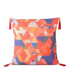 Purple & Orange Geo Cushion Fabric designed by Cloud Nine Creative  www.cloudninecreative.co.nz
