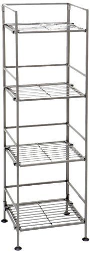 Seville Classics 4-Tier Iron Square Tower Shelving, Satin Pewter 2-Pack