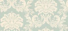 Symphony Damask  (839-T-7632) - Thibaut Wallpapers - An elegant bold damask design in cream on pale aqua backing. This paper is vinyl coated. This is an American wallcovering and will take 10-14 working  days for delivery. Wide width. Please request sample for true colour match.