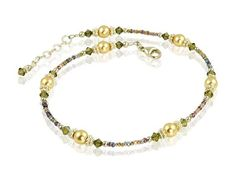 Handcrafted adjustable 11 - 11 inch khaki green beaded anklet created with a golden sunrise seed bead mix, khaki Swarovski Austrian crystals, gold Swarovski crystal-based pearls, bright Bali silver, and sterling silver. Available While Supplies Last Ankle Bracelets, Jewelry Bracelets, Jewlery, Beach Jewelry, Feet Jewelry, Beaded Bookmarks, Khaki Green, Gold Pearl, 925 Silver