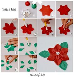 DIY Fondant or Gum Paste Poinsettia Tutorial Fondant Flower Tutorial, Fondant Flowers, Sugar Flowers, Xmas Flowers, Fondant Rose, Decorating Supplies, Cake Decorating Techniques, Cake Decorating Tutorials, Decorating Ideas