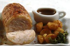 Dolls House Food : Dollhouse Miniature Food Roast Pork with Roast Potatoes and Gravy (Handmade) IGMA Member