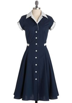 $100   Baba-blue Dress - Blue, White, Casual, Vintage Inspired, Shirt Dress, Short Sleeves, A-line, Long, Rockabilly
