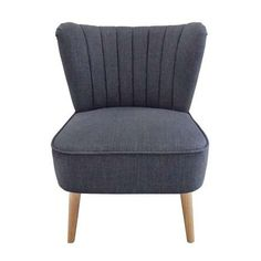 Featuring a ruched back and angled light wood legs, this easy to assemble armchair is upholstered in a charcoal grey colourway.