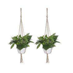 awesome LJY 2-Pack Plant Hanger Macrame Jute 4-Leg without Hoop for Indoor Outdoor Balcony Ceiling Patio Deck Round & Square Pots (Total Length 95cm / 37.4in)
