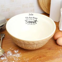 Personalised ceramic mixing bowl for a keen baker