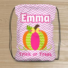 49382570bb6 Personalized Halloween Trick or Treat Bag - Custom Pumpkin Drawstring  Backpack for Girls - Kids  Halloween Bag - Halloween Pumpkin Treat Bag
