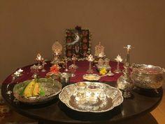 Diy Diwali Decorations, Festival Decorations, Flower Decorations, Brass Diyas, Rituals Set, Silver Pooja Items, Pooja Mandir, Pooja Room Design, Diwali Diy