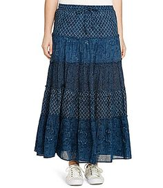 Lauren Ralph Lauren Plus Tiered Cotton Gauze Maxi Skirt #Dillards