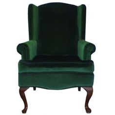 Velour Wing Back Chair Green Velvet Wingback Chair, Leather Recliner Chair, Chair Upholstery, Chair Cushions, Wooden Dining Chairs, Leather Dining Chairs, Luxury Office Chairs, Passion Deco, Cane Back Chairs