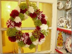 yarn pom wreath - Google Search