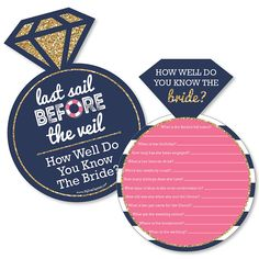 Last Sail Before The Veil - Nautical Bachelorette Party Game - How Well Do You Know The Bride Game - Set of 20 - Spiel Beach Party Games, Backyard Party Games, Bridal Party Games, Engagement Party Games, Dinner Party Games, Graduation Party Games, 21st Party, Childrens Party Games, Tween Party Games