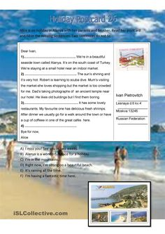 Inserting missing sentences into the postcard (a couple of them do not fit). Grammar: Present simple vs continuous (progressive). English Reading, English Writing, Teaching English, English For Tourism, Email Writing, Writing Tips, English Exercises, English Language Learners, English Classroom