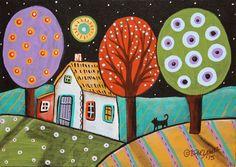 Darkness 5x7inch ORIGINAL Canvas Panel PAINTING FOLK ART cat landscape Karla G #FolkArtAbstractPrimitive
