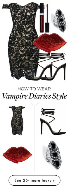 """Katherine Inspired Party Outfit - The Vampire Diaries / The Originals"" by fangsandfashion on Polyvore featuring Palm Beach Jewelry, WithChic, Lulu Guinness and Christian Dior"
