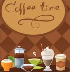 Coffee time cups banner vector set