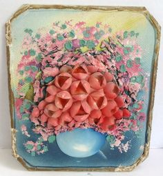 Vintage Floral Sea Shell Folk Art Plaque Beach Tramp Art Sailor's Valentine