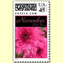 November Birth Flower is the Chrysanthemum, or mumm for short! These custom postage stamps feature a bright pink chrysanthemum which is a nice idea for a November birthday gift.
