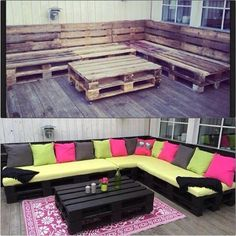 Pallet wrap-around sofa and table for outdoors. Love the shape, hate those colours: blue-grey and greens for the Nest instead