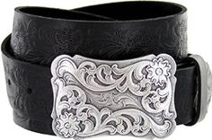"Men's Cowtown Western Tooled Full Grain Leather Belt 1 1/2"" Wide Black Brown…"