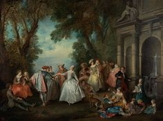"Dance before a Fountain 1724 Lancret ""  ""Called a fête galante, these paintings depicted a pastoral landscape peopled by elegant figures strolling, making music, or attempting to woo their partners. Participants of the fête galante seemed uninhibited by the stiff conventions of formal society."""