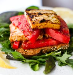 """Remove the oil and I think this is an #Engine2Diet recipe!   Tomato Tofu """"Feta"""" Open-Face Sandwich - Healthy. Happy. Life."""