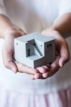 Miniature Concrete Home Architectural Model/ Desktop sculpture/ House model Concrete Sculpture, Concrete Art, Concrete Design, Decorative Concrete, Diorama, Rolling Ball Sculpture, Concrete Curbing, Architectural Sculpture, Concrete Architecture