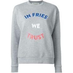 Être Cécile In Fries We Trust Sweatshirt ($115) ❤ liked on Polyvore featuring tops, hoodies, sweatshirts, grey, gray top, grey sweatshirt, grey top, cotton sweatshirt and gray sweatshirt
