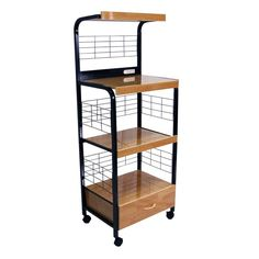 Functional Portable And Efficient This Beech Black Metal Microwave Cart Is The