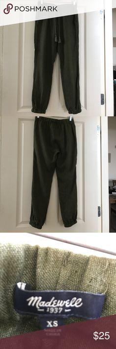 Madewell linen drawstring pants Madewell olive green linen drawstring cinched leg Madewell Pants