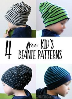 Knit beanies are trendy and comfy - check out 4 free kid's beanie sewing patterns tested out and sewn up! Great knit sewing patterns for beginners, beanies are perfect gifts to sew for kids and fun to make. #freesewingpatterns #sewing