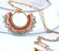 Long Pastel Pendant Necklace Copper Rose Pink by LiBeadi on Etsy. Pink, gold, turquoise, and brown pendant.