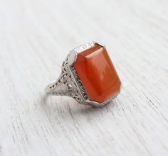 Antique 10k White Gold Carnelian Red Ring  Size by MaejeanVINTAGE, $275.00