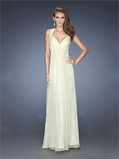 Straps Plunging Sweetheart Empire Open Back Lace Chiffon Prom Dress PD11640