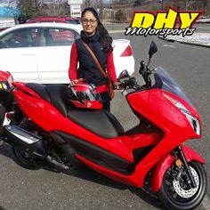 Congratulations to Peet from #Westampton on her purchase of this 2014 #Honda #Forza Enjoy your awesome new #scooter and thank you for making your purchase at #DHYMotorsports #mynewride #dhynj