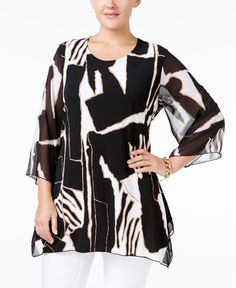 Jm Collection Plus Size Printed Handkerchief-Hem Blouse, Only at Macy's