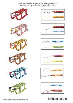 Met welke twee kleuren is de slee getekend, kleuteridee.nl , free printable.