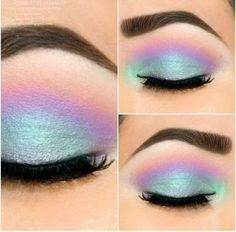 Mermaid or Unicorn makeup look. These seafoam, blues, purples, and pink eyeshadows are stunning!