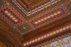 Elaborate ceiling design! Bradbury & Bradbury wallpapers.