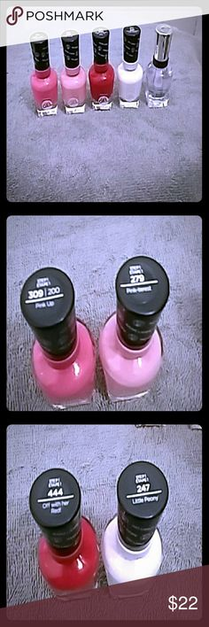 NWT BUNDLE of Sally Hansen MIRACLE GEL POLISH NEW WITH TAGS & SEALED BUNDLE OF SALLY HANSEN MIRACLE GEL NAIL POLISH!!! Contains 4 colors and a clear top coat!! Colors are red (off with her red) bright pink (pink up) pale pink(pink-trest) a pale pink white(little peony) and last the complete salon manicure top coat ( clear'd for takeoff) beautiful colors that are classic all year round!! Any questions please ask all reasonable offers accepted and possible trades too, FREE GIFT with purchase…
