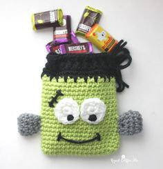 Frankenstein Candy Pouch, Free Crochet Pattern from Repeat Crafter Me