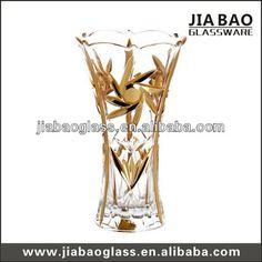 Middle East style 25cm high gold plating glass vase electroplating sun flower glass vase