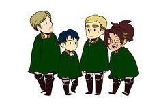 Survey Corps senpais!! Mike, Levi, Erwin, Hanji