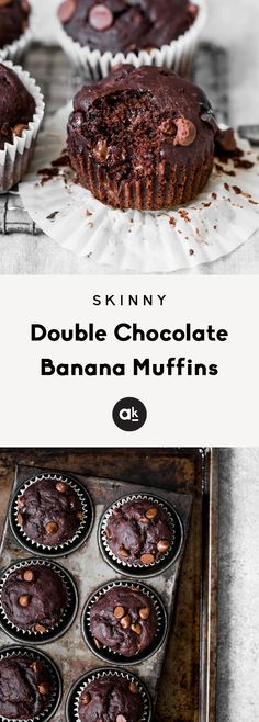 Healthy double chocolate banana muffins made with whole grains and greek yogurt. No added sugar and healthy enough to enjoy for breakfast! Healthy Dessert Recipes, Health Desserts, No Bake Desserts, Baking Desserts, Cake Baking, Healthy Foods, Cake Recipes, Picnic Recipes, Healthy Baking