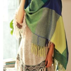 Blue green plaid scarf Brand new Length: 68 inches Material: wool, cotton Accessories Scarves & Wraps