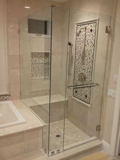 Bad Inspiration, Bathroom Inspiration, Bathroom Ideas, Wooden Bathroom, Bathroom Bin, Mosaic Bathroom, Bathroom Mirrors, Bath Ideas, Frameless Shower Doors