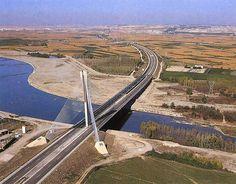 Sancho el Mayor Bridge over the Ebro River, Castejón, Spain
