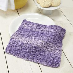 Sudsy Spray yarn gives the classic basketweave pattern a little oomph with its fading colors. Dishcloth Knitting Patterns, Crochet Dishcloths, Free Knitting, Crochet Patterns, Free Pattern Download, Crochet Kitchen, Fade Color, Hot Pads, Yarn Needle