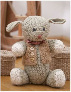 Sir Stephen, the Bunny Crochet Pattern. This crocheted kid's toy, inspired by antique toys, is worked in pieces than seamed together.